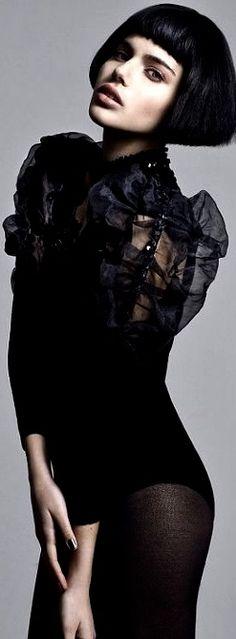 Betty Bangs, Black Figure, Black Wardrobe, Hair Romance, Black Magic Woman, Sexy Blouse, Black White Red, Color Black, Shades Of Black