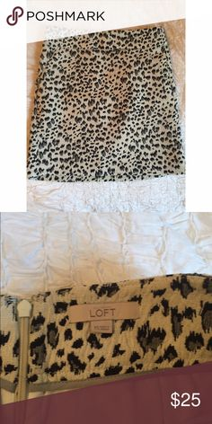 Trendy LOFT Leopard Print Skirt Fashion-forward leopard print LOFT skirt - size XS, hits mid-thigh. This is a great contemporary wardrobe addition- the animal print is current and the style is classic! LOFT Skirts Mini
