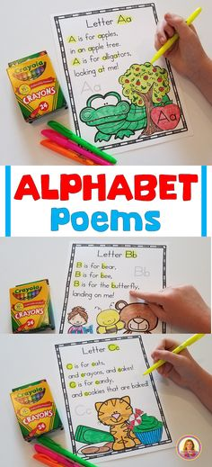 Alphabet Poems For Shared Reading Mrs. Mcginnis' Little Zizzers Preschool Songs, Preschool Letters, Preschool Curriculum, Preschool Lessons, Preschool Kindergarten, Learning Letters, Homeschooling, Kindergarten Projects, Phonics Lessons
