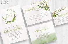 Wedding Invitation  Greenery Wedding by PaperMinxDesigns on Etsy