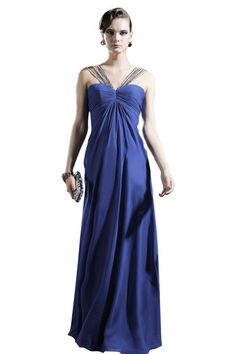 Persian Blue Beaded V Neck Evening Dress (56620)  £195.00 Classic elegance evening dress in Persian blue colour featuring strapless sweetheart Empire silhouette with floor length sheer chiffon overlay, ruche bodice and beaded lace V neckline.