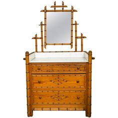 19th c. English Faux Bamboo Washboard with Marble Top | 1stdibs.com