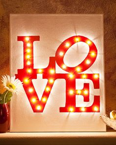 Inspired by the famous Philadelphia landmark, this illuminated LOVE canvas will bring a little warmth and a lot of love into your house.