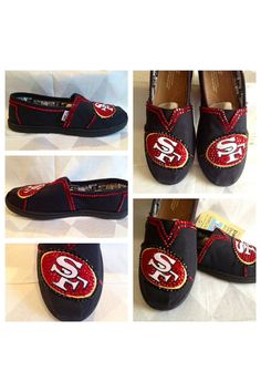 Custom 49ers womans shoes, custom bling Toms, hotfix rhinestones , 49ers apparel free shipping, San Francisco 49ers, Black Friday