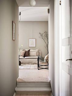 In Copenhagen, An Enchanting Home In Shades of Soft Sea-Green - Home Decoration With Indoor Plants Code: 5841868562 - Nordic Living Room, Cozy Living Rooms, My Living Room, Home And Living, Living Room Decor, Living Spaces, Scandinavian Living, Warm Grey Walls, Warm Bedroom