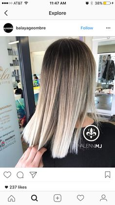 33 trendy ombre hair color ideas of 2019 - Hairstyles Trends Hair Color And Cut, Ombre Hair Color, Ash Ombre, Pelo Color Ceniza, Blonde Balayage, Balayage Highlights, Hair Looks, Pretty Hairstyles, Dyed Hair