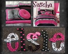 Zebra Cheetah Print Hot Pink Tween Hand Painted Wooden Name Letters Personalize Your Space