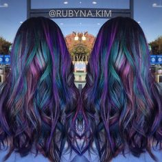 Oil slick inspired hair color from @bescene by @RUBYNA.KIM