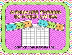Subtracting Integers Tri-Match Center and Recording Sheets Common Core Standard  7.NS.1  Included in this product:  18 Tri-Match Subtracting Integer Cards (Black and white and full color versions)  Recording Worksheet  Print the 18 sets of cards (54 cards total).