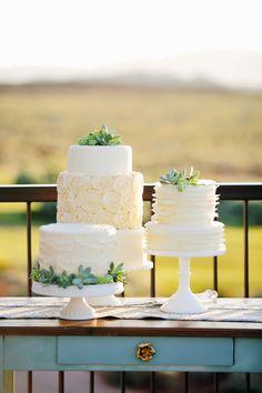cake trio with succulents