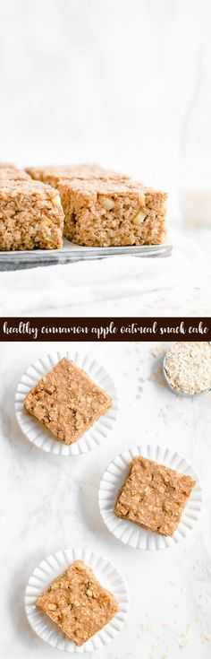 Healthy Cinnamon Apple Oatmeal Snack Cake -- only 100 calories! It's SO easy to make! Really moist & tender. It basically tastes like apple pie! I LOVE this recipe! It's a staple at my house! ♡ clean eating greek yogurt snack cake. 100 calorie gluten free snack cake. healthy homemade snack recipe.