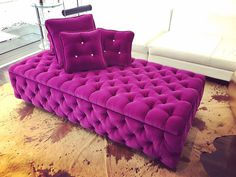 XL Tufted Ottoman Pop Of Color Coffee Table Souffle by BeSofia