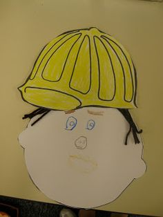 This week we dove into our Community Helpers Unit. We read books and made lists of Community Helpers. We looked at the many hats some Commun. List Of Community Helpers, Community Helpers Preschool, School Community, Construction Theme Preschool, Construction Crafts, Construction Worker, Community Workers, Kindergarten Social Studies, School Themes