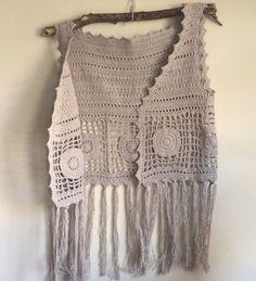 Crochet fringe vest.Crochet vest.Crochet Boho top.Fringe vest.Boho top.Knitted vest.Festival  boho vest.Beach cover up.Off-white vest.Hippie