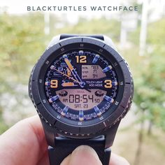 """Beautiful watch face """" ME 01 """". Touch to switch to bright mode.  Search for Samsung Apps.  #blackturtles #turtlesblack #gear #gears2 #gears3 #s2 #s3 #gears2classic #gears3frontier #gears2 #samsungs3 #samsung #wear #andoid #s3 #tizen #classic #gyro #frontier #watch #watchface #face #digital #tech #review #luxurywatches #luxurywatche #samsungmobile #samsunggalaxy #SamsungGalaxyAPPs #samsungapps"""