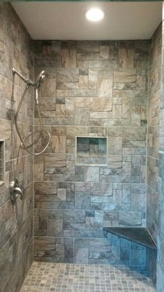 Rustic Walk In Stone Shower