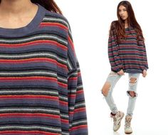 Striped Sweatshirt 80s GRUNGE Sweater Red Blue Print by ShopExile