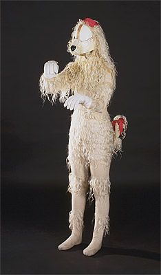 André DERAIN  designer France 1880 – 1954    producer 1909 – 1929    Costume for the White Poodle c.1919  bodysuit, snout and gloves: woollen fur, wire supports, cotton jersey, elastic, paint, flax, mohair, linoleum (snout)  Purchased 1973  National Gallery of Australia, Canberra  NGA 1973.270.133.A-C