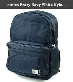 etnies Entry Navy White Nylon New Mens Womens Unisex Shoulder Bag Backpack. The Entry Backpack Bag in Red/Navy from Etnies. Featuring a large main compartment, small front stash compartment, padded straps for comfort and support and Etnies detailing throughout. A simple but effective backpack ideal for college, school, university and everyday use. Dimensions: 11.5W X 16H X 5D Inches.