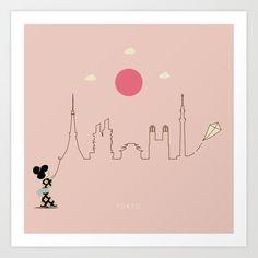 Tokyo Skyline Kite Art Print by keindesign Tokyo Skyline, Buy Frames, Kite, Travel Posters, Printing Process, Nursery Decor, Gallery Wall, Art Prints, Products