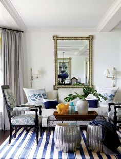 Madeline Weinrib Blue Vice Cotton Carpet, Interior design: Anne Miller, Photo: Michael Partenio, Via New England Home, I like the blue and white stripe rug My Living Room, Home And Living, Living Spaces, Small Living, New England Style, New England Homes, Design Salon, Patterned Carpet, White Rooms