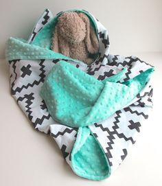 Black white southwest diamond minky baby blanket door WilderAndBean