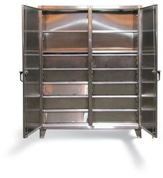 Stainless Steel Double Shift Cabinet with Drawers - Heavy duty 12 gauge stainless steel double shift cabinet with 8 drawers. Includes 14 gauge shelves that can be adjusted in 2 inch increments. locking device can be locked with a standard padlock. Stainless Steel Cabinets, Industrial Storage, Cabinet Drawers, Storage Solutions, Locker Storage, Shelves, Garage, Guy, Shop