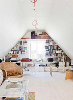 10 Flourishing Simple Ideas: Attic Remodel On A Budget attic loft apartment.Attic Bedroom Built Ins unfinished attic apartment therapy.Old Attic Remodel. Attic Library, Attic Playroom, Attic Rooms, Attic Spaces, Attic Bathroom, Attic Closet, Attic Wardrobe, Garage Attic, Open Spaces