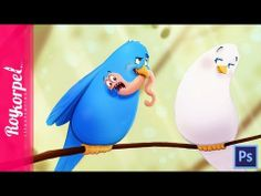 Sweet Romantic Birds and a worm | Photoshop cs6 time lapse digital drawing