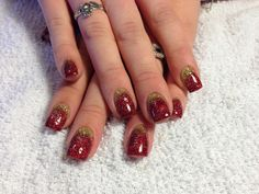 Red & Gold glitter nails