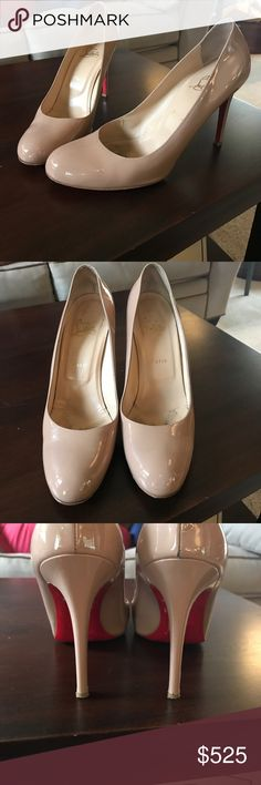 Christian Louboutin Heels Authentic Used Louboutin Pumps. Nude color. Typical wear on red bottoms from use. Size 10.5. Bag and box included. Christian Louboutin Shoes Heels