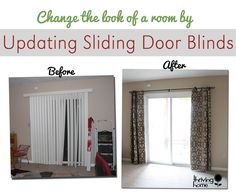 6 ways to avoid wasting money on window treatments big room and super easy home update replace sliding blinds with a curtain rod and curtains planetlyrics Choice Image