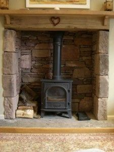 Reclaimed stone fireplace & hearth