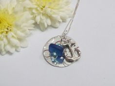 Beach girl Jewelry, Anchor Necklace, Seaglass, ExpressionsStamped.com