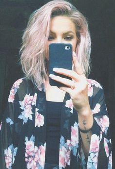 Pink blonde hair. I would love to have the guts to do something like this!