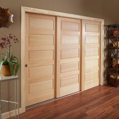 3 Panel 3 Track Hollow Core Sliding Closet Doors The