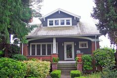 Craftsman Bungalow - Redmond Craftsman Bungalow - Redmond 16715 NE St, Redmond, WA 98052 Year Built: 1922 i love the red brick with the blue Craftsman Bungalow Exterior, Bungalow House Plans, Bungalow Homes, Craftsman Style Homes, Craftsman Bungalows, Craftsman House Plans, Bungalow Porch, Craftsman Porch, Bungalow Ideas