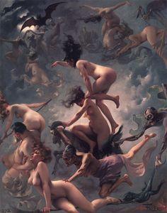 Luis Ricardo Falero - Witches going to their Sabbath Illustrations, Illustration Art, Spanish Painters, Erotic Art, Dark Art, Art Images, Bing Images, Fantasy Art, Design Art