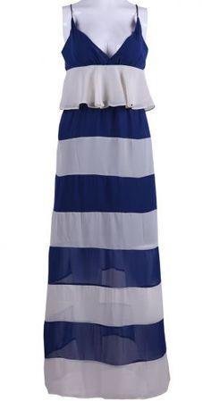Blue Apricot V-neck Spaghetti Strap Maxi Chiffon Dress