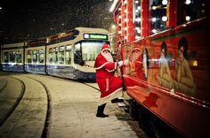 Samichlaus (Santa Claus) bording the Märlitram (fairytale tram) in Zürich.