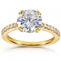 Round-cut Moissanite & Diamond Engagement Ring