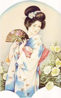 by Kasho Takabatake Japanese Art Modern, Japanese Drawings, Japanese Artwork, Japanese Tattoo Art, Japanese Prints, Japanese Culture, Japanese Illustration, Botanical Illustration, Japan Painting
