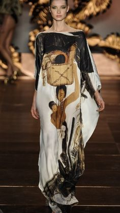 The Terrier and Lobster: Adriana Degreas Summer 2012 Albert Eckhout-Print Caftans Foto Fashion, Vogue Fashion, Abaya Fashion, Fashion Dresses, Formal Smart Casual, Celebridades Fashion, Maxi Gowns, African Fashion, Indian Outfits