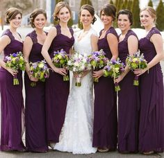 Purple Bridesmaid Dress with Beautiful Cowl Neck, Column Chiffon Bridesmaid Dresses, Simple Bridesmaid Dress with Lace Straps