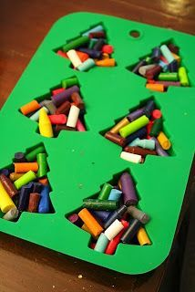 Put broken crayons into silicone molds, bake at 275F for 10 minutes. Let cool before removing