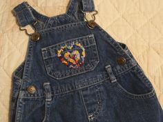 Overall Dress Heart Embroidery, One-of-a-kind Baby Overall Jean Dress UpCycled, Hand Embroidered Baby Overall Denim Dress Double Heart Overall Dress, Overall Shorts, Custom Denim Jackets, Baby Overalls, Summer Pictures, Jeans Dress, Embroidery, Heart, How To Wear