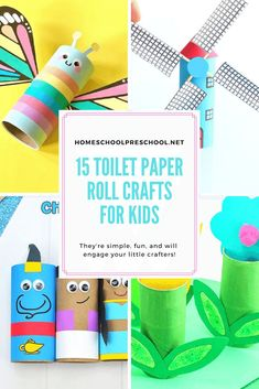 These adorable printable toilet paper roll crafts come with free templates to make your crafting session super easy and fun!  #paperrollcrafts #toiletpaperrollcrafts #toiletpaperrollcraftsforkids #homeschoolprek