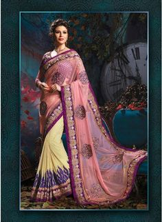 Gorgeous Cream & Rose Pink Embroidered #Saree