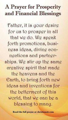 Prayers for prosperity!