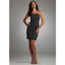 Black Slim Strapless Satin Pleated Dress Style (Bridesmaids dress)